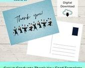 EDITABLE Graduate Thank You Card Printable Template - Blue Group Grad Postcard | Notecard