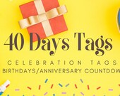 Birthday Styled Celebration Countdown Tags for Birthdays | Anniversaries | Retirement | Events