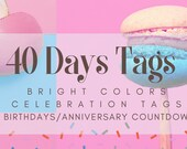Bright Colors Celebration Countdown Tags for Birthdays | Anniversaries | Retirement | Events