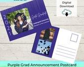 EDITABLE Purple Graduation Announcement Printable Template -Picture Grid Grad Postcard | Notecard