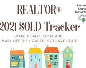2021 Real Estate Sales Tracker for SOLD Houses | Visual Home Printable | Digital Download | REALTOR® |Mark your SALES