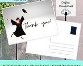 EDITABLE Graduate Thank You Card Printable Template - GIRL Grad Postcard | Notecard