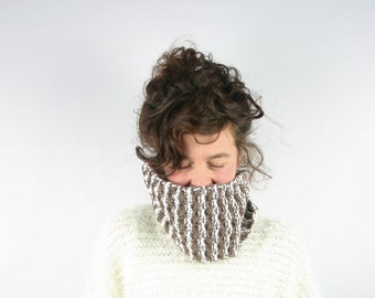 one of kind piece wrist warmer neck warmer upcycled clothing Wool recycled sweater warm neck brown beige neck cover