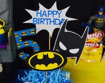 Blue Classic Batman Superhero Birthday Party Centerpiece