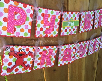 Pink Girly Red Monster Polka Dot Birthday Banner