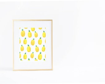 Summer Wall Art Print | Pineapple | Pattern | Watercolor | Instant Download