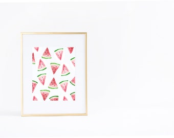 Summer Wall Art Print | Watermelon | Pattern | Watercolor | Instant Download