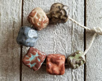 Rustic textured ceramic beads - textured beads - rustic beads - ceramic beads [819]