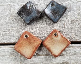 2 pairs small ceramic earring charms or drops - earring charms - earring drops - ceramic earring charms - ceramic earring drops {784]