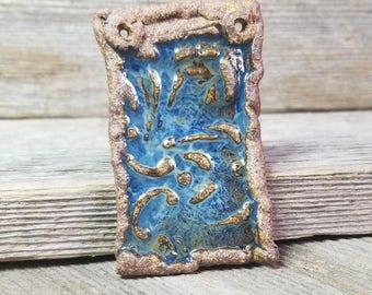 Rustic ceramic pendant - rustic ceramic pendant  - rustic brown pendant