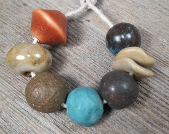 Ceramic bead set - ceramic beads - clay beads - handmade beads