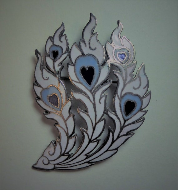 Vintage Feathery Brooch with Blue Hearts