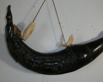Indonesian Hand Carved Horn Container