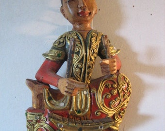 Hand Carved Elaborate Wooden Thai Musician