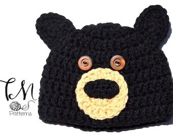CROCHET PATTERN Baby Hat, Black Bear Pattern, Crochet Baby Pattern, Hat Pattern, Bear Ears Hat Pattern, Baby Boy Crochet Pattern, Toddler