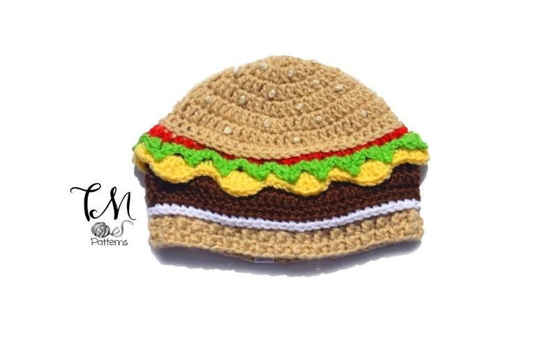 CROCHET PATTERN Cheeseburger Beanie Infant & Kids Crochet image 0