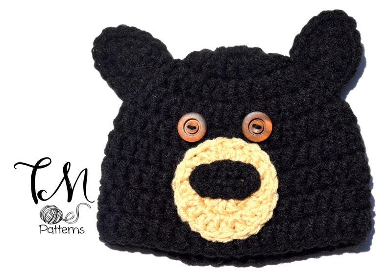 472d7e56cc2 CROCHET PATTERN Baby Hat Black Bear Pattern Crochet Baby