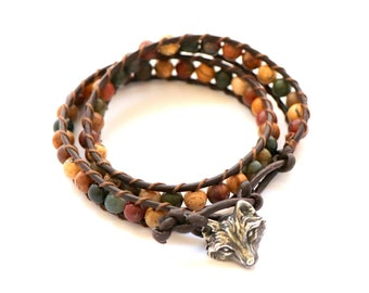 Jasper Stone Wolf Bracelet - Brown Leather Double Wrap - Earthy Boho Chic Totem Animal Jewelry - Natural Stone Jasper - Wildlife Gift