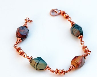 Red Creek Jasper Bracelet - Copper Wire Wrapped Stones - Solid Copper Round Beads - Cottagecore Jewelry - Sundance Style - Boho Chic Casual