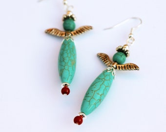 Turquoise Angel Earrings with Silver Pewter Wings - Southwest Long Dangle Earrings - Native Inspired - Sundance Style - Christmas Gift