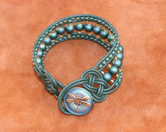 Green Leather Beaded Cuff Bracelet with Celtic Knots and a Czech Glass Gold Dragonfly Button Clasp - One of a Kind Statement Jewelry
