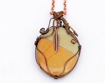 Copper Wire Wrapped Jasper Necklace with a Copper Feather - Wildhorse Jasper Stone - Sundance Style