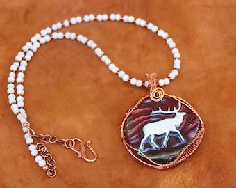 Elk Pendant Necklace - Wildlife Necklace - Copper Wire Wrapped Ceramic Cabochon - Beaded Necklace - Boho Chic Elk Jewelry - Sundance Style