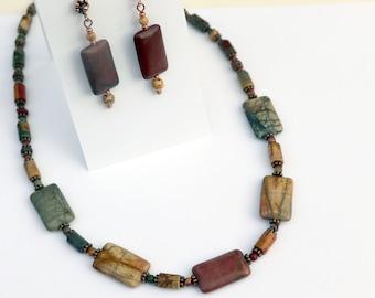Red Creek Jasper Set - Necklace & Earrings - Red Creek aka Cherry Creek Jasper - Sundance Style - Copper Clasp -  Upscale Western Jewelry