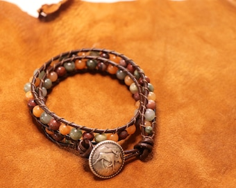 Moose Bracelet - Brown Leather Wrap with Moose Clasp - Jasper and Aventurine Stones in Earthy Colors - Rustic Boho Chic Leather Bracelet