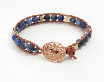 Blue Stone and Copper Leather Wrap Bracelet - Sodalite and Snow Quartz Natural Stones - Copper Clasp - Sundance Style - Boho Bracelet