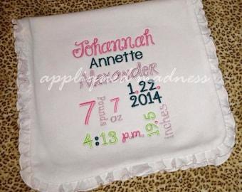 Custom appliquéd baby announcement subway art burp cloth for baby boys or baby girls keepsake