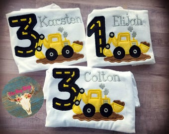 Backhoe Birthday Shirt, Construction Birthday shirt, any age, free personalization