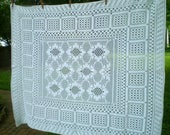 Vintage White Hand-crocheted table cloth- small white crocheted tablecloth- table cover- handmade white geometric cloth- crocheted coverlet