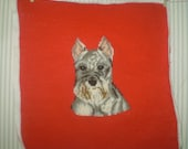 Cute Schnauzer pup- Hand worked needlepoint pillow top with Schnauzer dog- Schnauzer dog needlepoint-Christmas Schnauzer- red needlepoint