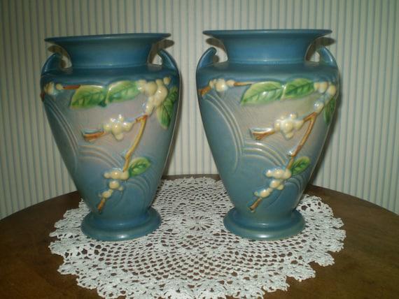 Vintage Roseville Vase Pair Blue Roseville Snowberry Vases Etsy