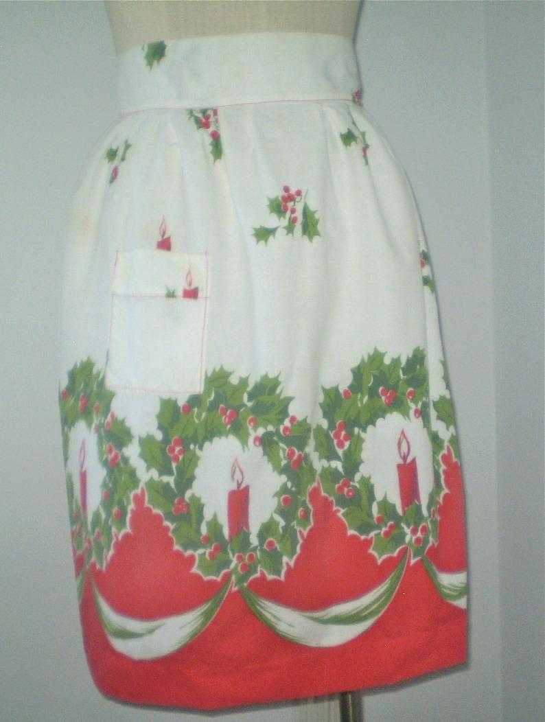 Reserved for Ellen Retro holiday apron Xmas Candles apron tall gal apron Vintage Holiday half apron handmade cotton print apron