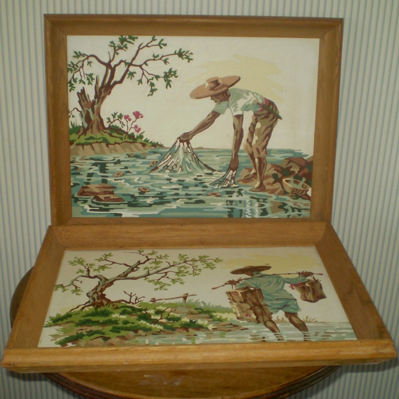 Reduced Pair Of Vintage Paint By Number Framed Paintings Asian Man In Creek Asian Water Carrier Pastel Paintings Matched Pair