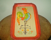 SALE-Vintage Rooster tray- weather vane rooster tray- Farmhouse rooster design vintage tin tray- Midcentury metal tray- TV tray- snack tray
