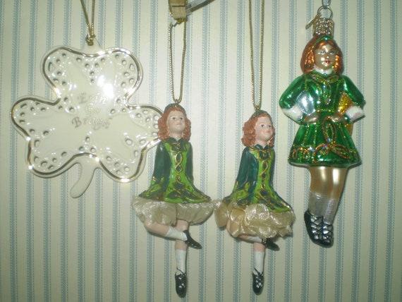 Lenox Christmas Ornaments.Group Of Irish Christmas Ornaments 3 Irish Dancers And Lenox Ivory Shamrock With Gold Trim Blow Mold Irish Dancer Twin Irish Dancers