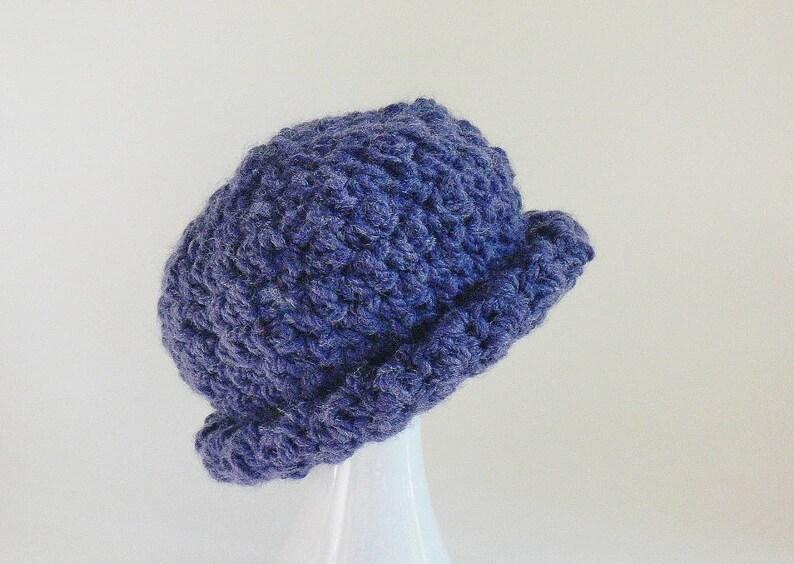 2d879226a50 Crochet Pattern Chunky Roll Brim Hat Messy Bun Hat Girls
