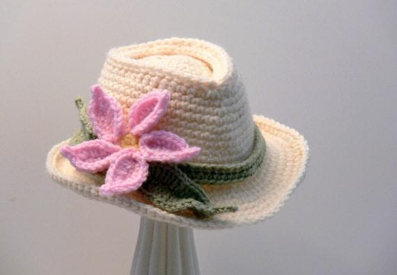 Crochet Pattern Fedora Girls Hat With Flower Sun Hat Brim Etsy