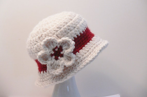 bd851ca2cf2 Crochet Pattern Womens Hat Girls Hat Cloche with Flower