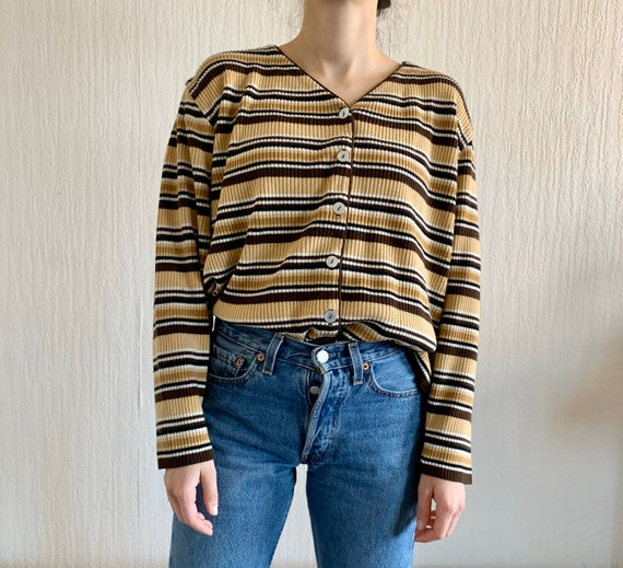 brown and yellow striped wool ribbed button down c