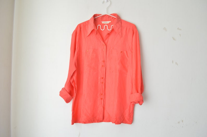 70e696ca1f88e8 Peachy dusty red silk button down oversized shirt blouse 80s