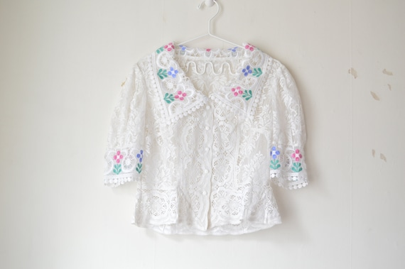 vintage white lace floral embroidered button down