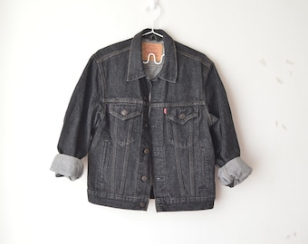 vintage Levi's faded black oversized denim jacket 90s // S-M