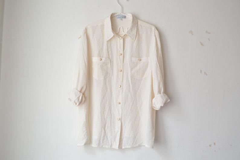 95099525b2b5ee Off white cream silk button down collared minimal basic shirt   Etsy