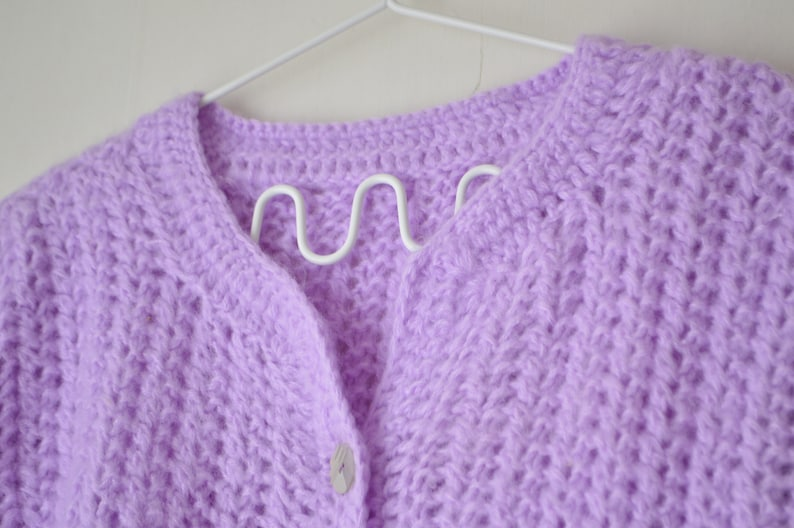vintage pastel purple hand knit button down short sleeves top cardigan 80s  M