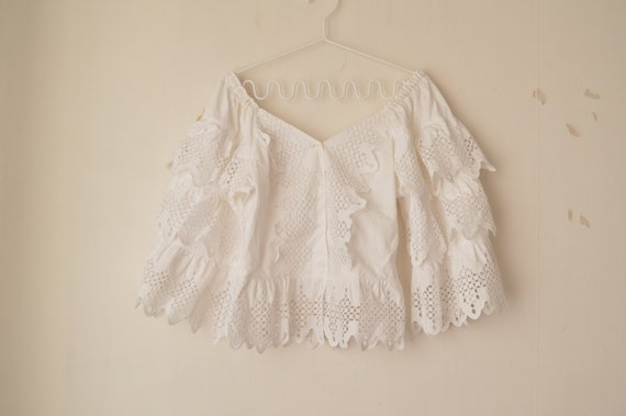 vintage white cut out lace ruffle off shoulder vic