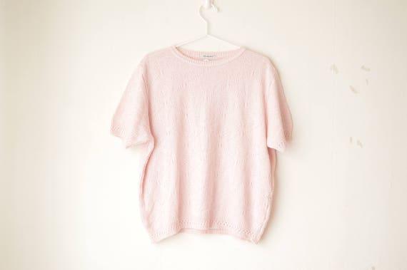 pastel pink knit crochet floral short sleeves top